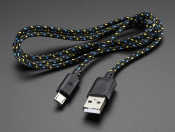 USB Patterned Fabric Kabel- A/MicroB