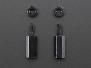 Brass M2.5 Standoffs für Pi HATs - Black Plated (11mm) - 2er Pack